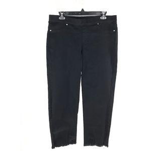 Hue Black Raw Hem Denim Skimmer Jeans